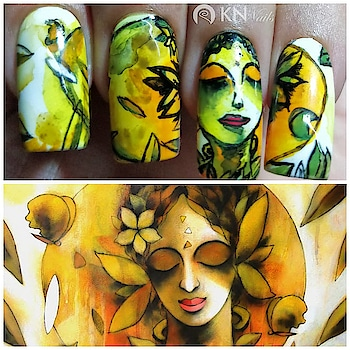 """Attempt Free hand painting✍️ For PB monthly collaboration theme  we choose the theme paintings """"inspirations from famous art works"""" and recreating them on nails because that's what we love 😍 🔅🔆Inspiration: Kumaraswamy B paintings His paintings are adorable. Feeling divine seeing painting.🔆🔅 Of course I can't copy his paintings and don't want to even, i respect all the artists and tried to make this on my way.. 🔆So do you like this hand painted nails done by me? Comment below... Theme credit❤️ @the_rhythm_of_nail_art Collage credit❤️ @eeshashastri  Products i used : Gel Base, No wipe top coat and Brushes @bornprettynailart Acrylic paints from local store  #polishbuddies  #polishbuddiesindia  #polishbuddiesindiacollab  #india   #nailartindia  #paintingpic  #paintinglove  #artwork  #famousart  #inspired  #inspiration  #colors  #handpainted  #creative  #freehand  #painting  #indianpainter  #art  #artist  #nailart  #nailartist  #nailartaddit  #nailartclub  #nailartwow  #nailartoohlala  #surat"""