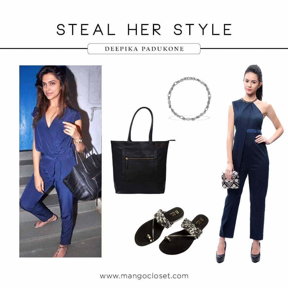 Take fashion inspiration from the ultimate style diva herself - Deepika Padukone. Trust #MangoCloset to be your one-stop shop for all her favourite picks! Visit www.mangocloset.com  #fashion #fashion-diva #deepikapadukone #deepikapadukonestyle #deepikalook #blue #bluedress #bluejumpsuit #jumpsuit #jumpsuitlove #designer #purse #designer_purses #clutch #clutcheslover #designerclutches #footwear #designerfootwear #shoes #sandals #heels #designerstuff #indiandesigner #mangocloset