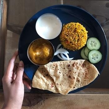 Today's Lunch - Shahi Kofta Curry, Onion Raita, Veg Biryani, Chapathi, Cucumber and Onion Slices. 😋  #foodblogger #foodie #food #indianfood #blogger #indianblogger #veg #vegetarian #yummy #lunch #foodpics #delicious #picoftheday