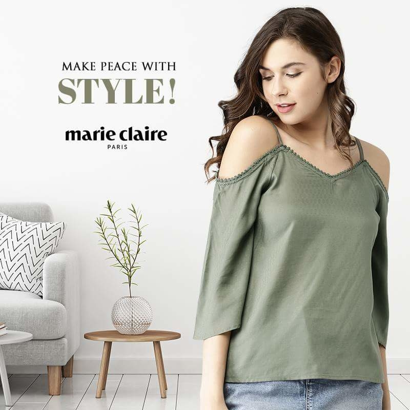 Embrace yourself this summer in this calming shade of olive green. Get yours at: http://bit.ly/2qRwO0M  #olivegreen #coldshoulder #top #olive #green #instyle #styling #stylepost #styleup