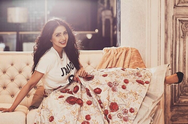 Manish Malhotra styled the beautiful Sridevi for Filmfare Magazine photoshoot in a MM lehenga and Dior Tshirt. What an interesting combination! 👍👌  #Bollywood #Styling #CelebrityStyling #Filmfare #Photoshoot