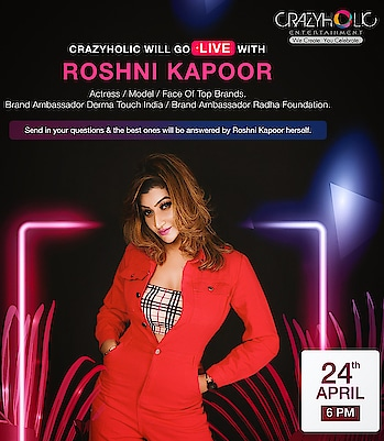 https://www.instagram.com/p/B_NJwURF-li/?igshid=qqf3c5s2hd22 #Repost Crazyholic Entertainment ・・・ We are going LIVE  with ever stunning Roshni Kapoor - Haute Manmzel on 24th April , 6 pm onwards.You can send your questions to us and the best ones will be answered by Roshni herself.  So don't forget to tune in to our page...till then stay at home and be safe ! . #celebrity #supermodel #actress #queenofpune  #roshnikapoor #liveoninstagram #roshnikapoorlive #crazyholicentertainment #HauteManmzel #StylishDivaOfIndia #CELEBRITY #supermodel #PublicFigure