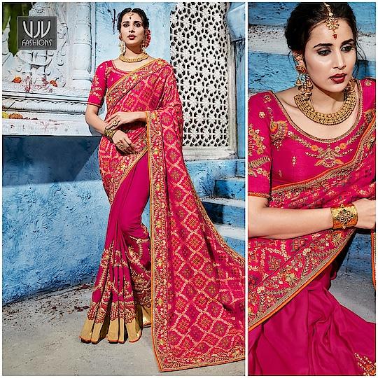 Buy Now @ https://goo.gl/iRzdHH  Mod Resham Hot Pink Half N Half Designer Saree  Fabric- Art slik  Product No 👉 VJV-ALOU1101  @ www.vjvfashions.com  #saree #sarees #indianwear #indianwedding #fashion #fashions #trends #cultures #india #instagood #weddingwear #designer #ethnics #clothes #glamorous #indian #beautifulsaree #beautiful #lehengasaree #lehenga #indiansaree #vjvfashions #pretty #celebrity #bridal #sari #style #stylish #bollywood #vjvfashions