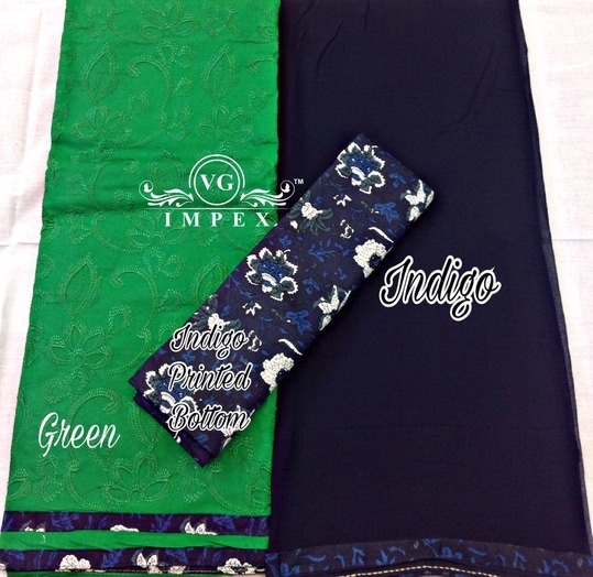 """➡TOP  *Cotton with self embroidery work all over* Upto Length 42"""" & ghera 29"""" ➡BOTTOM *Cotton printed 2.5 metre* ➡DUPATTA *Chiffon 2.25 metre* 👌👌💥💥🎊🎉🎉🎉😊😊👌  *Price ₹ 1400/- each plus ship extra* (Price inclusive of GST)"""