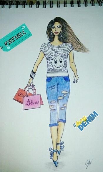 My work... A shopping girl.💄👠👛😉 #sketchinglove #fashiondesigns #fashion #illustration #passion #shopaholic