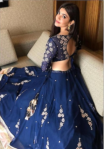 #kajalaggarwal #bluedress