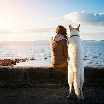 Hipster girl with her dog..... #dog #pet #hipster #girls #water #white #blue