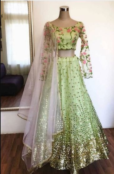*PRESENTING NEW DESIGNER LAHENGA CHOLI*  *Featuring embroidered lehenga choli in heavy NET. Quality is worth paying👌*  # FABRIC DETAILS  # LAHENGA  : NET #CHOLI        : NET #DUPATTA   : NET # WORK : EMBROIDERY & SEQUENCE WORK  # FREE SIZE SEMISTITCHED LAHENGA WITH 0.80 METER BLOUSE CUT PIECE; LAHENGA LENGTH IS 44 INCHES  *RATE : 1450+SHIP*  READY FOR SHIP BOOK FAST!!!!