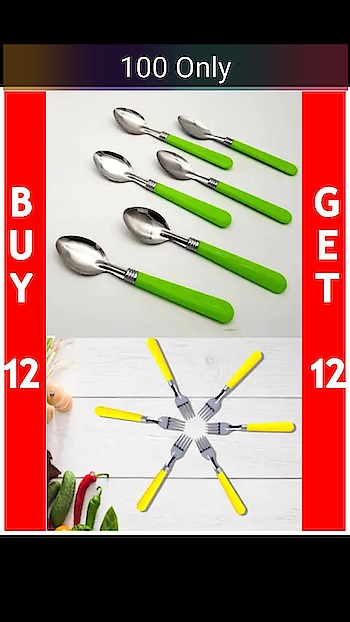 Set of 24 Stainless Steel Spoons and Forks with Designer Handle    Material: Stainless Steel,Set Content: Set of 24 #spoonset #forksset #shopwithus #buyitnow #thebazaar #cashondelivery #followme #followmeonroposo