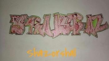 Graffiti Art Typography : Shal Shaz Artist : Shaz or Shal Dry media  Things you need  Pencil Eraser Sharpener Glitter pens White canvas sketch book -Shazorshal #creativespace #graffitiart #illustrator #illustration #roposolive #ropo-style #roposotalks #shalorshaz #designbox #blogger
