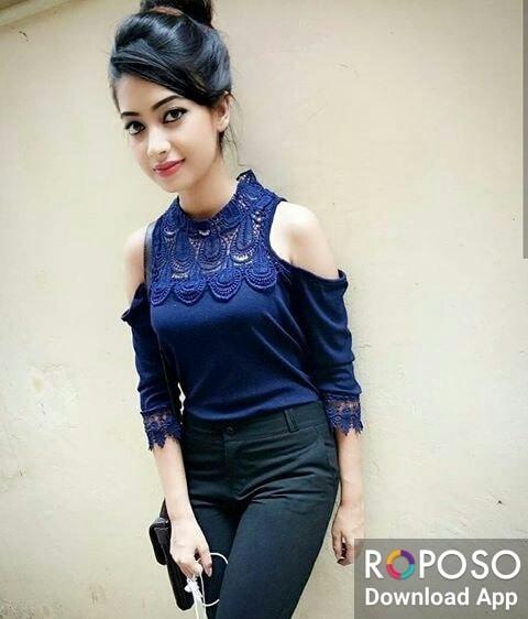 #choti #blue #offshouldertop #blackjeans #posing on #wall #fashionquotient