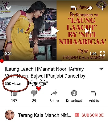 """Yeehhh, It's 30k + in one week only... So now it's time say a big Thanks to all my viewers to give me great response on my last video about """"Laung Laachi"""" by Mannat Noor. Thnk u once again. If you still not Like & Share my video then do it fast and don't forget to subscribe my channel too....  #NitiNihaaricaa #TarangKalaManch #LaungLaachi #MannatNoor #30kviews"""