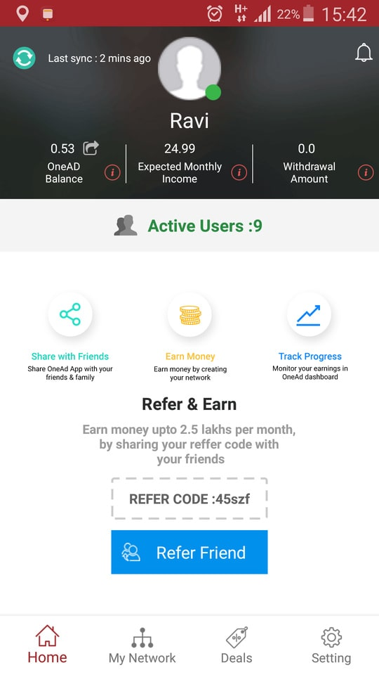 #earn #money #just by downloading this app     https://play.google.com/store/apps/details?id=com.application.onead&hl=en Your friend Ravi has invited you to try OneAD app. OneAD is Refer and Earn + Shop and Save mobile app. Install this free app become a member and earn up to 2.5 Lakh Rs per month. Your referral code for registration is 45szf