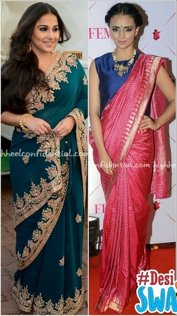 Vidya balan Looking every inch a begam jaan, in Dolly J saree, loved the colour. Radiant makeup, exquisite jewellery, enchantingly beautiful. 😙 😙  Roshini wearing a traditional Benaarasi saree with a Payal Khandalwal crop top, lovely jewellery looked lovely. 😙  #sareelove #vidyabalan #Roshni#traditional wear#jewellry#indianclothes #desiswag #stylealertsbykm