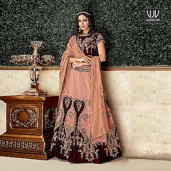 Buy Now @ http://bit.ly/VJV-AASH16205  Amazing Peach Color Brocade Velvet Lehenga Choli  Fabric- Brocade, Velvet  Product No 👉 VJV-AASH16205   @ www.vjvfashions.com