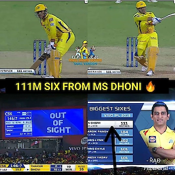 top of the dhoni six 111m😍😍😘