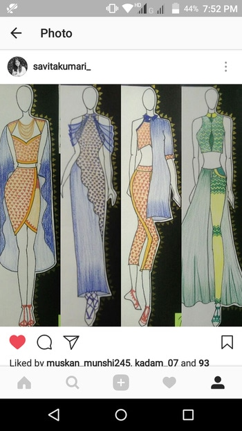 Here I present My collection inspired by fresh and beautiful Banaras Color pallette. The fabric used are: Khan ( an old typical maharashtrian fabric, its machine kasuti embroidered fabric), Silk- Cotton ( a fabric that contains more of silk than cotton), Tulle ( a net kind of fabric, used for draping).  #fashionfabels #art #illustration #ropo-love