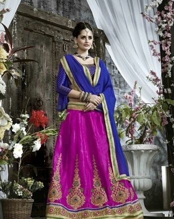Go royal with this amazing designer blue and pink lehenga from WedLista.com...   Product Code: 18296_KSS  #WedLista #FashionForWeddings