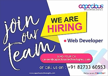We are hiring web Developer !  Send your cv : career@capacioustechnologies.com   Location : Dehradun Job type :Full Time  Experience :Minimum 1 year of experience  #job  #web #webstagram #websitedesign