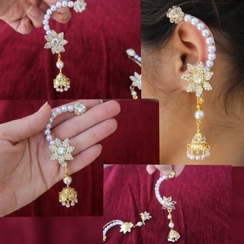 Accessorize with these appropriate and one of a Kind.  Pearl AD jhumki Earcuff #jhumki#earcuff#AD#jewelry#AD#jewels#jaipurjewelry#jewelrylovers#fashion#imitation#jewelry#occasional#jewelry#for#all#events#shaadi#buy#these#hurry.  These gorgeous jhumki's at Rs 259/- only
