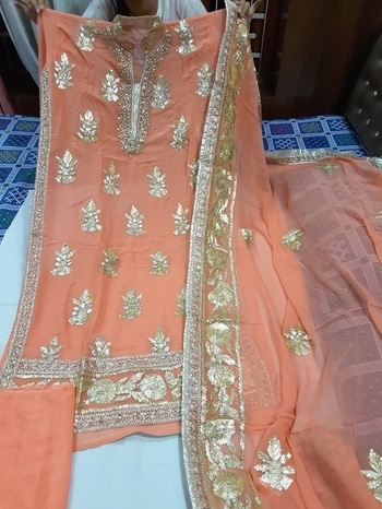 Pure Jorjjet suit frunt gotta embroidery  pure Jorjjet Duptta with heavy gotta border and embroidery  santoon ki bottom 1800 Free shipping in India  Awb