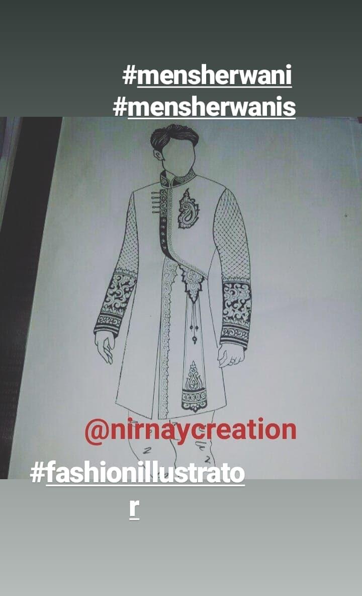 #roposo  #ethnic #ethenicfashion #ethnic-wear #bazaar #illustration #illustration #sherwani #indianwear #wedding #weddingdress