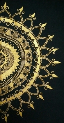 Hand painted t shirt #by me   #golden mandala art