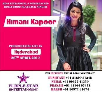 The sensational bollywood playback singer & performer #HimaniKapoor live tonight in #Hyderabad 🎤  For exclusive artist deals contact #PSE #PurpleStarEntertainment #NehalMatharu +919967741250