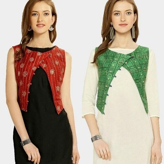 Printed Waistcoat Jackets bringing out the glorious Mughal era!  Left : Royal Fan Print Right : Music Wall Print  #shopping #onlineshopping #fashion #waistcoat #waistcoatlover #red #green #royal #printed #mughalera #funky #funkyfashion #quirkyfashion #quirky