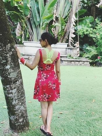 Beach fashion! #beachlook #bikini #neongreen #skaterdress #red #messybun #sunglasses #chooda  #halterneck #beachfashion #ootd  #whatiwore #seychelles #island #bridesofindia #newlywed #traveldiaries #indianocean #bangaloreblogger #fashion #summerlook  #dresses