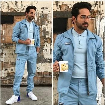 Ayushmann Khurrana Jacket & Pants-Adidas Tee-Jack & Jones  Sneakers-Tommy Hilfiger Glasses-Rayban Styled by-Isha Bhansali