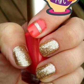 #, Gold#red#nail paint #nailart