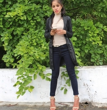 check this outfit on the blog.  love this super skinny high neck top. #beigeandblack #allbeigeeverything #blackandbeige #streetstyle #highneck #sweatshirt #skinnyjeans #strappyheels #kneelength #jacket #stylediaries #styleblogger #newblogpost #blogger #instyle #streetstyle #streetlook #casualstyle #casuallook  #fashionblogger #fashiondiaries #fashionpost  #lookoftheday #ootd #whatiwore  #shopstyleit #instablogger #bloggerlife #fblogger #camelandblack #soroposo #ropogood #ropo-style #roposoblogger #lifeofadesigner