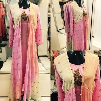 2550/-  Full flare Shaded muslin fabric jacket with aari work and separate muslin inner with handwork butta ....size -40. T