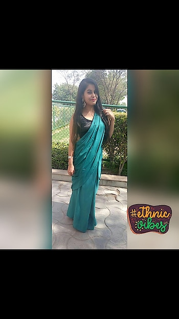 When grace and couture shook hands, the saree was born! (six yards of grace.)  #saree #ethnic #designer-wear #desivibes #loveforsaree #turquoiseblue #drapeastory