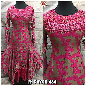 *FH RAYON* *DOUBLE LAYER GOWN* *MOTI LACE ON NECK* Style No. : 464 Single : ₹ *1200/-*   Size : *42 Inches (XL)* Colours: 4 Length : *55 Inches * Inner : No Need Sleeve : Full Sleeves   Fabric : Rayon  Occasion : Casual / Ethnic Wear Fabric Care : Dry Clean or                         Hand Wash Only *Shipping Charges free*