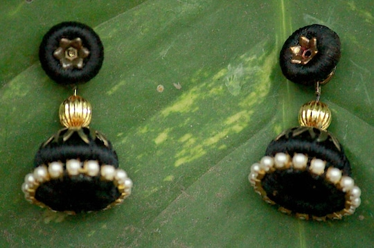 #Stone #Embellished #Black #Colored #Silk #Threaded #Jhumki
