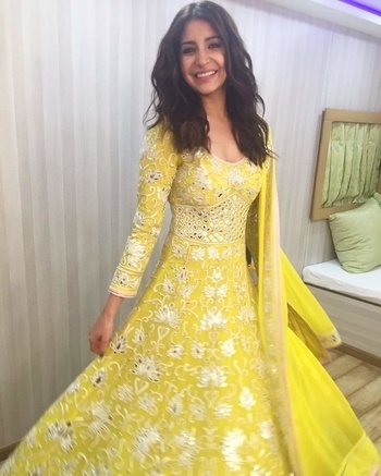 Gorgeous!!! Isn't she!! #loveit #mirrorwork #traditional #anarkalisuit #indianattire #beautifulmakeup #simplemakeup #yellowlove #yellowgold #justperfect #fashionblogger #fashiondesigner #indianblogger #getit #ordernow