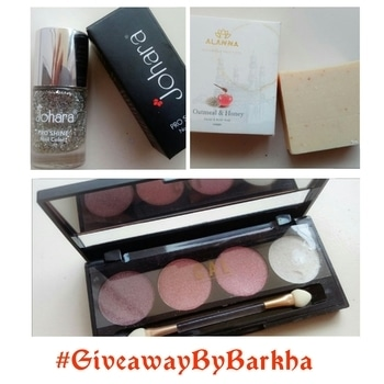 Hello Everyone,  https://www.instagram.com/p/BVT5J2_AuyC/  It's time for me to show you some love 😊 This time I am giving away 3 gifts worth Rs 1250 to a lucky winner. C.A.L angelic Eyes (01 INNOCENT) Rs 850, Johara Pro Shine Color Rs 250, Alanna Oatmeal and Honey soap Rs 150. The rules of the giveaway are as follows:- 1) Check out my giveaway post on my blog. Follow my blog. 2) Repost this picture with #GiveawayByBarkha and tag me in it. 3) Tag 5 friends in the comments below and ask them to join in. . . The giveaway ends on 25 June. The winner will be chosen randomly from the hashtag. . . #giveaway #contestalert #giveawaypost #GiveawayByBarkha #contestday #giveaways #cosmeticsgiveaway #GiveMeWings #contests #Contestlove #IndianContest #IndiaContest #makeupgiveaway #makeupcontest