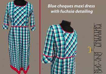 Subtle & stylish blue checks pleated maxi with fuchsia detailing #cotton #checks #blue #pink #maxi #intrend #ChatToBuy #BrandsFreeZone #label #bhavnachhabria #studio #bengaluru #indiranagar #madewithlove