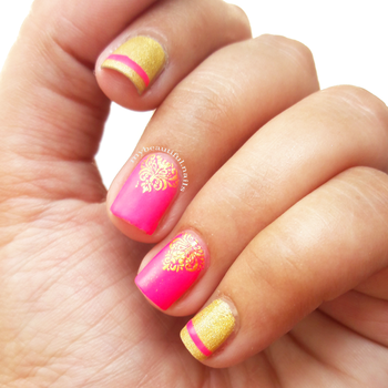 I participated in this month's #theinspirationchallenge Hosted by @theinspirationchallenge  To see the picture the inspired me do this nail art and the collage swipe  Products used #Foolzy neon pink Nail polish @juicecosmetics golden nail polish @bundlemonster stamping plate from @shopcutenails box @nicolediary2016 gold stamping polish  #Nail #Nails #NailPolish #NailPolishAddict #NOTD #NailPolishLover #NailPolishes #NailstaGram #NailAddict #NailSwag #NailsOfInstagram #NailsOfTheDay #Nails2Inspire #IndianNails #IndianNailArtist #IndianNailArt #NailStamping #ManiOfTheDay #NailJunkie #StampedNails #StampingNailArt #NailStampingArt #nailart #nailit #nailedit #nailblogger #nailartist