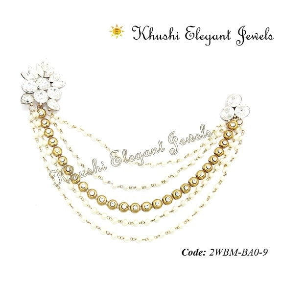 Collection of Chain Brooches made in crystal Brooches linked with pearl and metal chains. Wear them on Sherwani, Vasket,  Saree, Gowns or Kurtis follow us on fb at www.facebook.com/khushielegantjewels