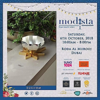 Gift - A thoughtful gesture filled with beauty, aesthetic appeal and handcrafted details. Gifting solutions by @elisiumgiftsuae for all your festivities this season  At Modista Saturday, 6th October 2018 Roda Al Murooj Dubai #elisium #elisiumgifts #handcrafted #luxury #gifts #giftideas #giftbox #curated #beautiful #delicate #musthaves #festive #occassion #shop #shopper #lifestyle #lifestyleexpo #modistadxb #mydubai #indiandesigners #dubaidesign #fashion #style #destinationweddings