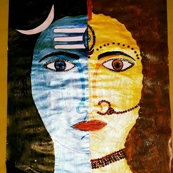 my painting....ardhnariswar...➡no man is complete without a women....👦⚌👧#artlove