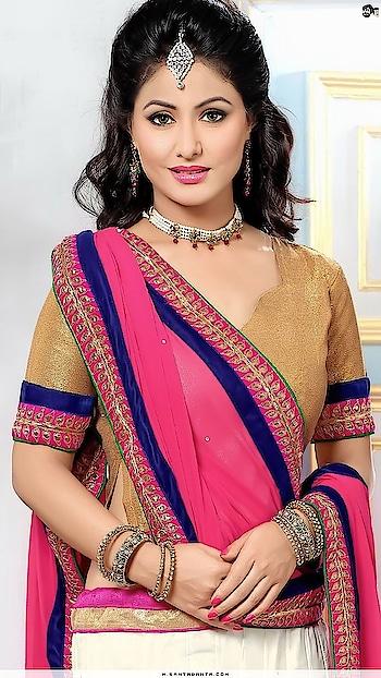 #earrings #necklaceset #pinksaree #blue-coloured #blouse #hinakhan #fashionquotient