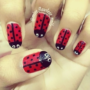 💠The same God who painted spots on ladybug's backs🐞, created you, redeemed you and knows you by name 🌟Live each day as if your life had just begun💠 Happy Monday!😊🤗 -  #nailart #nailpolish #nails2inspire #nailstagram #nails #nails💅  #nailsofinstagram #bahrain #manicure  #likeforfollow #like4like #likeforlike #like #like4follow #likesforlikes #mani #likeforme #nailtech #nailblogger #fashion #chennai #follow #followforfollow #monday #ladybug #nailsoftheday