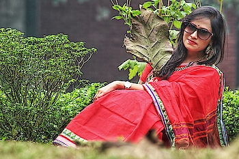 I Clicked This💖 #saree #red-red #redsaree #photography #photographyeveryday #love-photography #beauty #she #sister #sisterlove #nikond3400 #lens #55-200mm #nature #leafs #trees #roposolove #roposo-style #sunglasses #classic-beauty