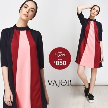 Winter never looked this good! Make a beautiful pink statement with these bold colour-blocked dresses and buy them on sale!http://bit.ly/2jbvuS0 #vajor #womensfashion #pinkdresses #colourpalette #colourblocked #sale #eoss #discount