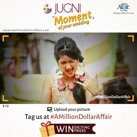 """Hello Ludhiana!!  JUGNI is back with a bang!!  Upload a picture which tells us """"The Jugni moment"""" of your Life and tag A million dollar affair and get a chance to win exciting prizes on 19 Saturday!!  Follow the steps-: 1.Upload your picture on facebook and instagram 2.Tag a million dollar affair 3.In the caption #jugnimoment #amilliondollaraffair  Save the dates for the best wedding show in Ludhiana Jugni - The Wedding Edition at Hotel Maharaja Regency on 19-20 August!! #Jugni #theweddingedition #maharaja #regency #ludhiana #bride #bridesmaid #groom #wear #weddingbells #exhibition #events #weddingplanner #decor #celebrations #nehaamitsingla #amitsingla"""