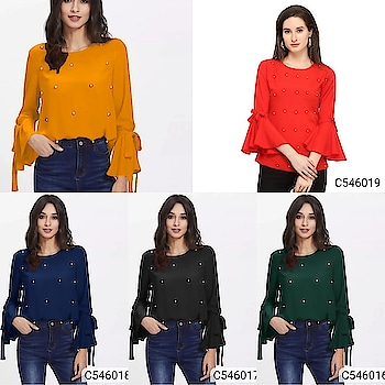Catalog Name: Women's Crepe Solid Embellished Tops Price : Rs.450/  Free shipping & Cod #nareshshopping